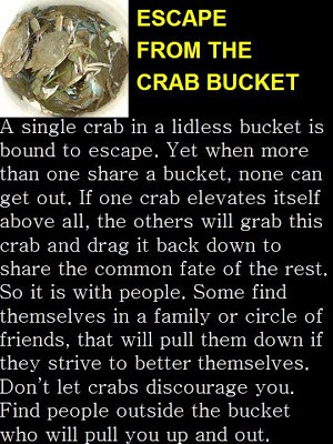 Cognitive Fortresses: Human Crabs and Self-Imposed Buckets